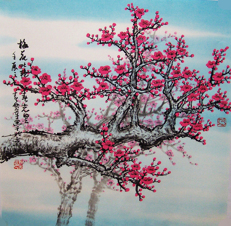 Original painting chinese art Lovely cherry blossom tree ...
