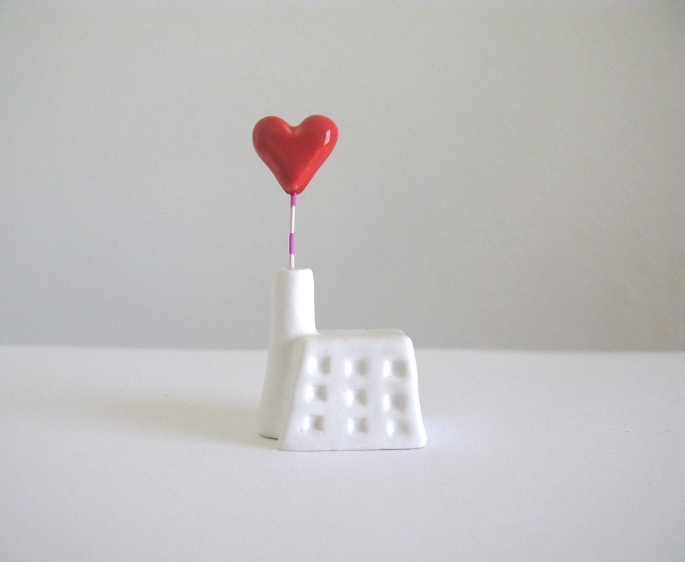 Heart Factory - little ceramic house sculpture - PearsonMaron