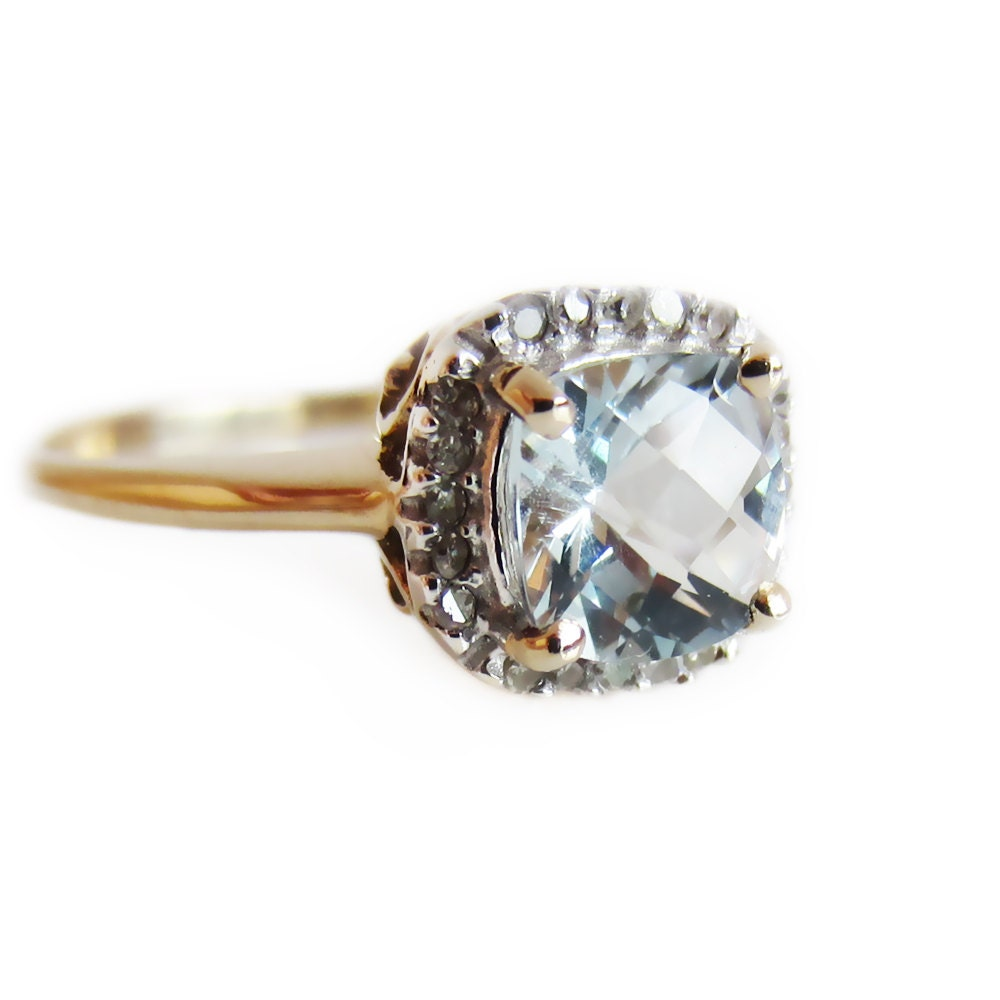 cushion cut engagement ring aquamarine by encifinejewellery