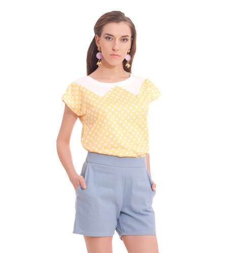 Yellow polka dots, Summer shirt, Button dwon back, New collection summer 2012 - SharonBoazFashion