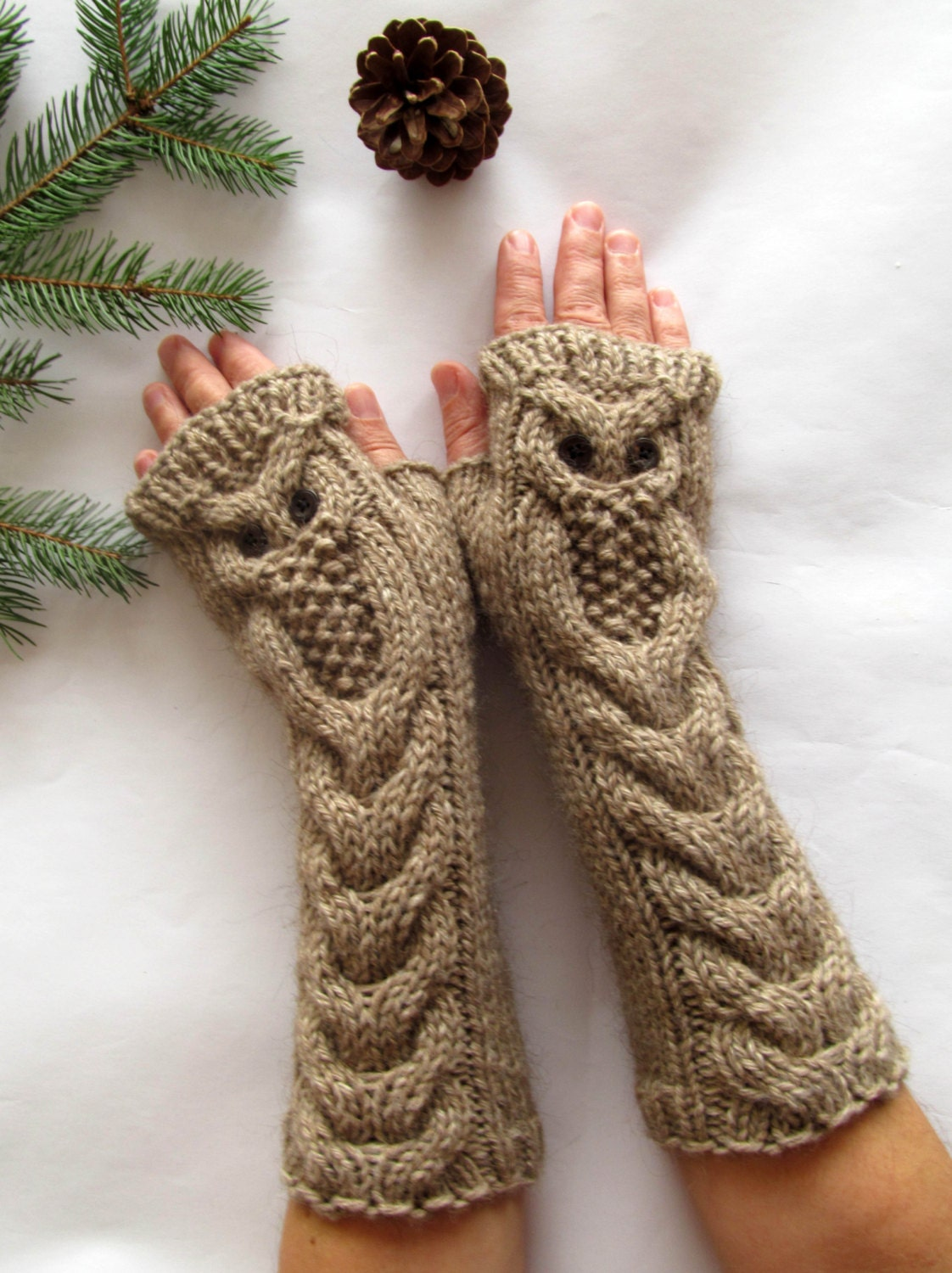 Owl Alpaca Light Brown Beige Long Hand Knit Cable by nastiadi