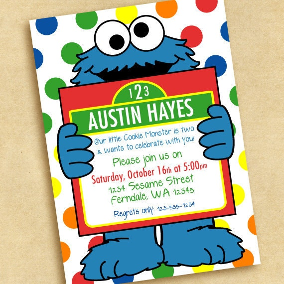 Cookie Monster Birthday Invitations for your inspiration to make invitation template look beautiful