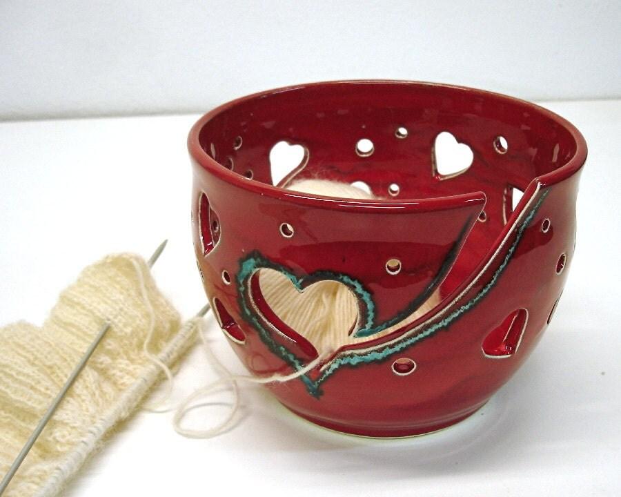 Yarn Knitting Crochet Bowl Red Heart  designs all around Handmade Ceramics As seen at Vogue Knitting LIVE Winter Gift