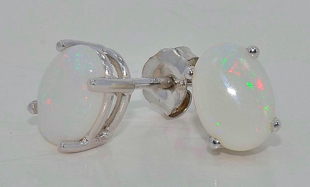 3 carat genuine opal oval stud earrings by elizabethjewelryinc