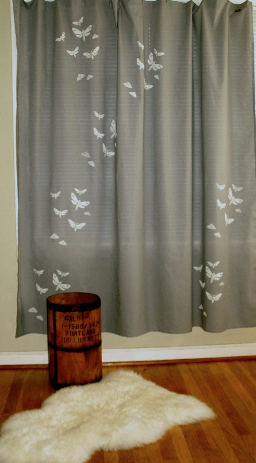 Grey Shower Curtain With Moth Print By Appetitehome On Etsy