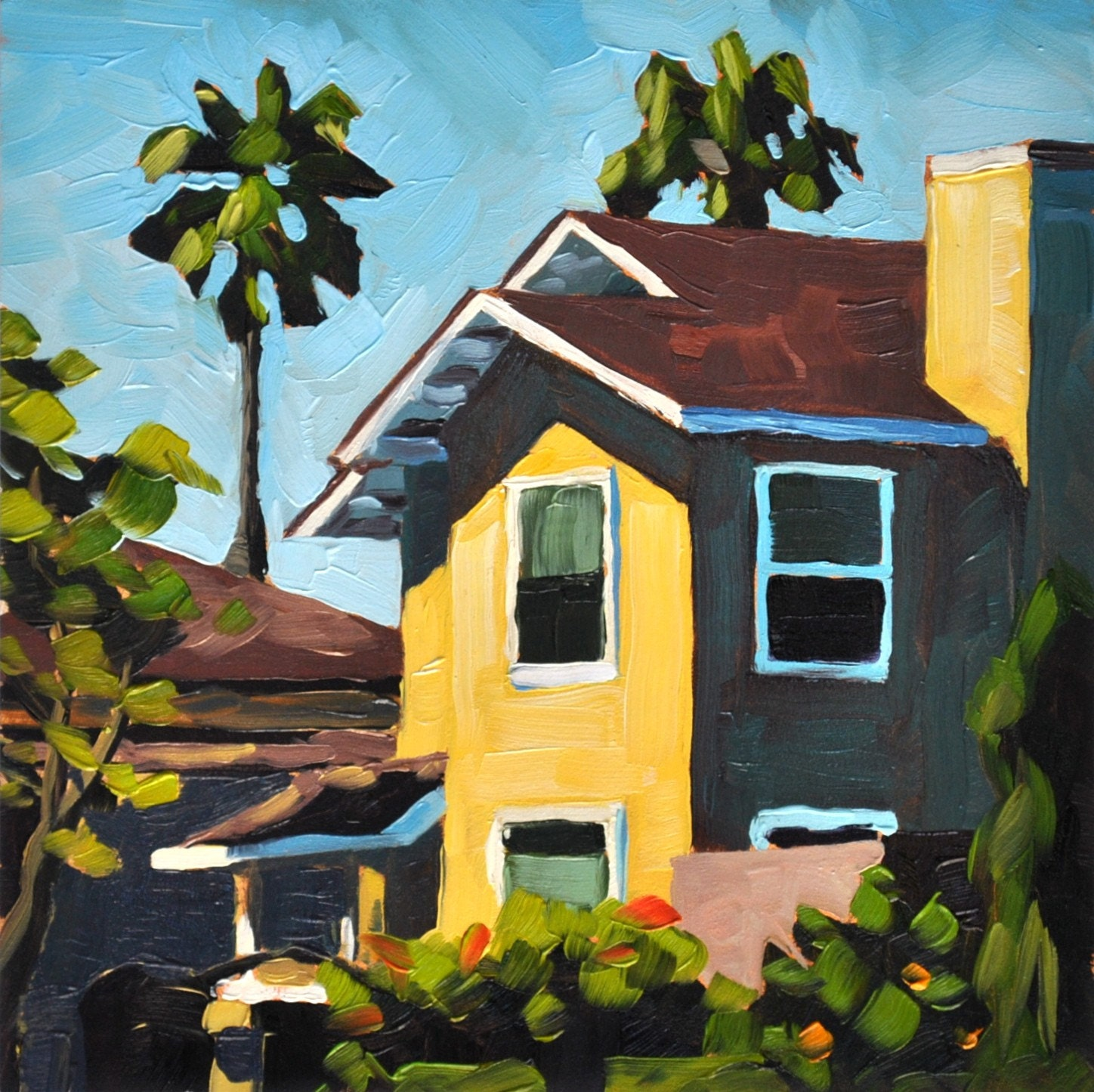 Yellow house santa barbara oil painting 6x6 by sharonschock for Oil paintings of houses