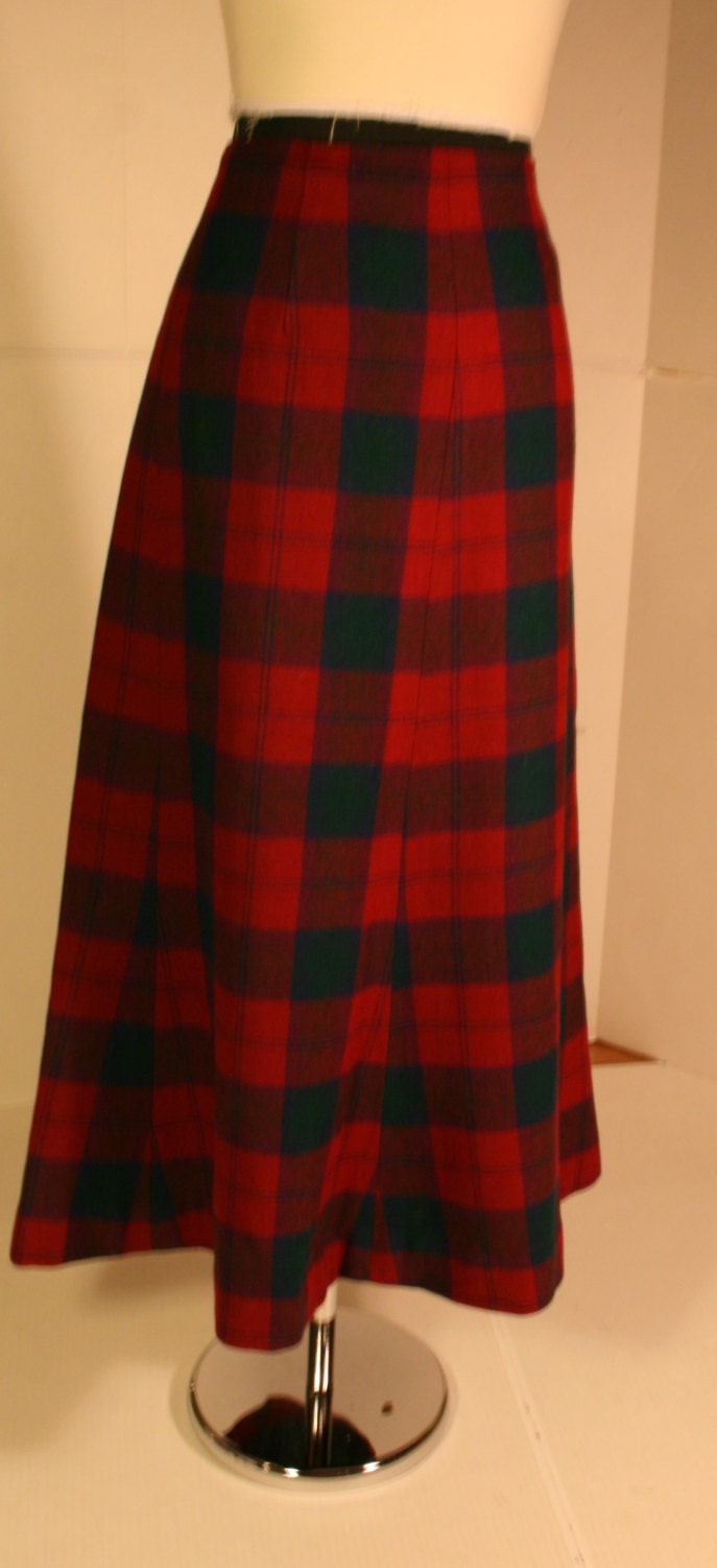 vintage green blue plaid maxi skirt fully by