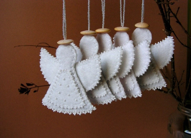 Felt angel decoration white angel ornament by mispearlberry for Angels decorations home