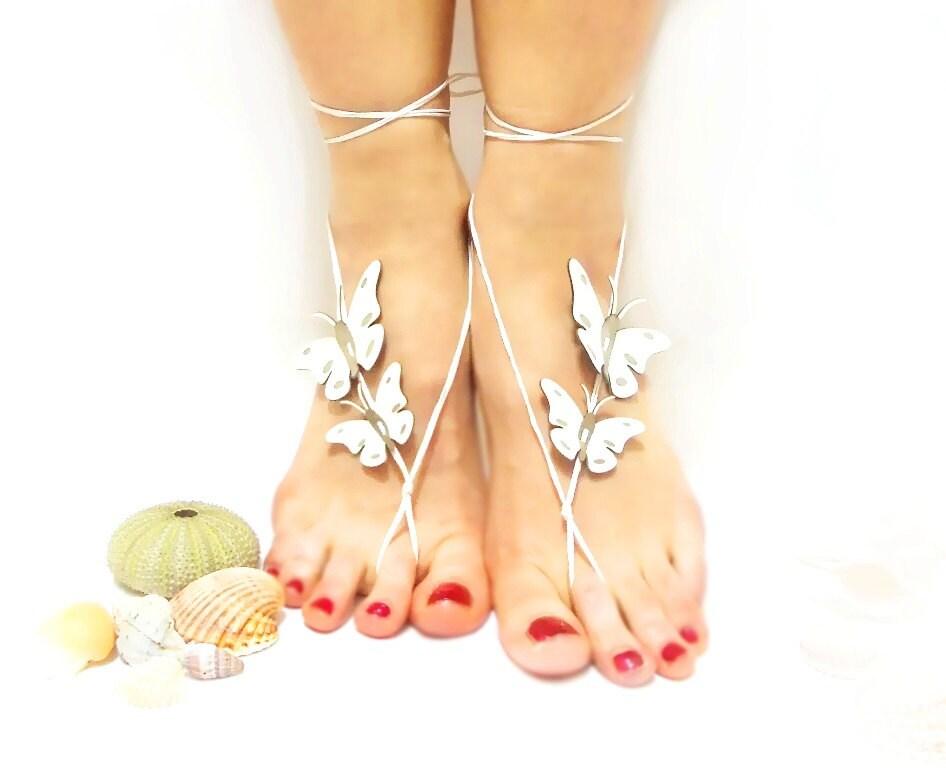 Wedding Barefoot Sandal, Barefoot sandal, Butterfly Barefoot Sandal, White, Bridal White Barefoot sandles, Genuine leather butterfly, Ankle - CatsAndSheeps