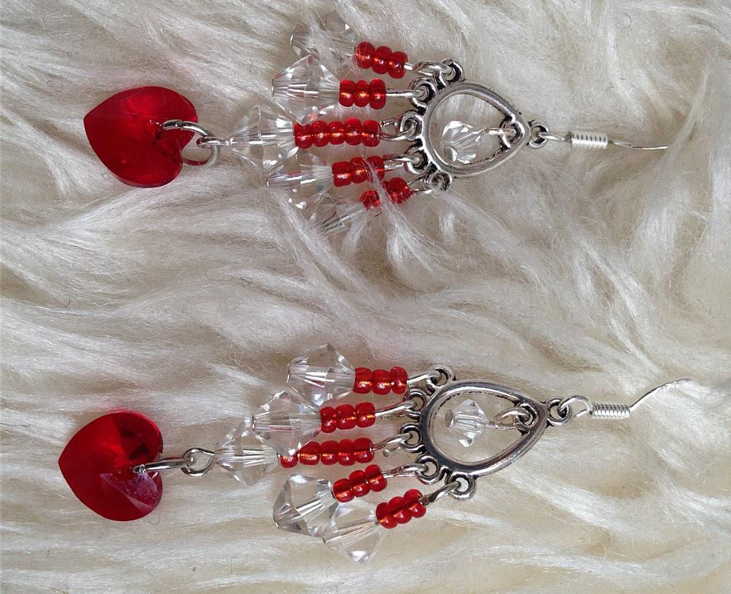 CRYSTAL HEART Teardrop Chandelier Earrings: Authentic Sparkling Swarovski & Czech Glass Beads, Sterling Silver Earwires OOAK Gift for Her - TwinklingOfAnEye