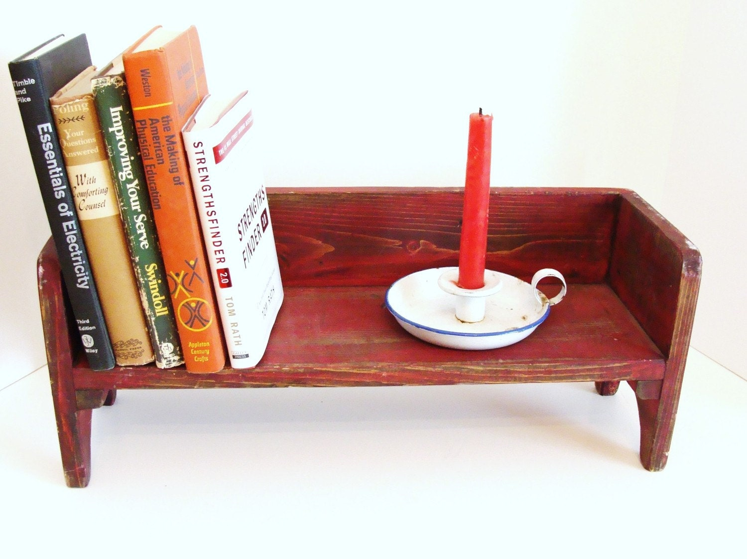 Red Wood Bench Wall Decor Book Shelf Farm to Table Primitive Rustic Cottage