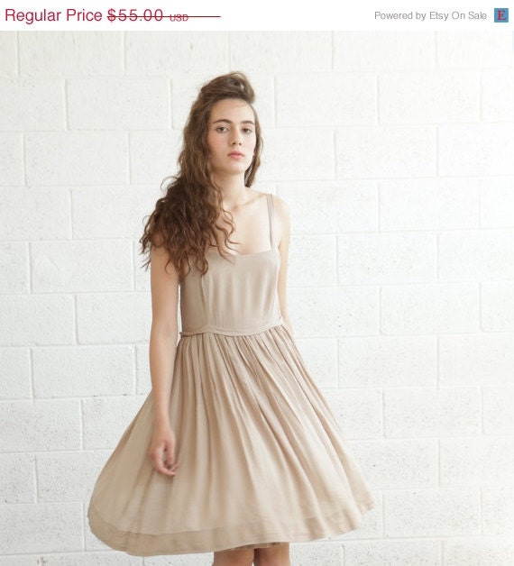 Valentines special ,Bridesmaid Dress Summer, Cocktail Dress, Dress Beige. - naftul