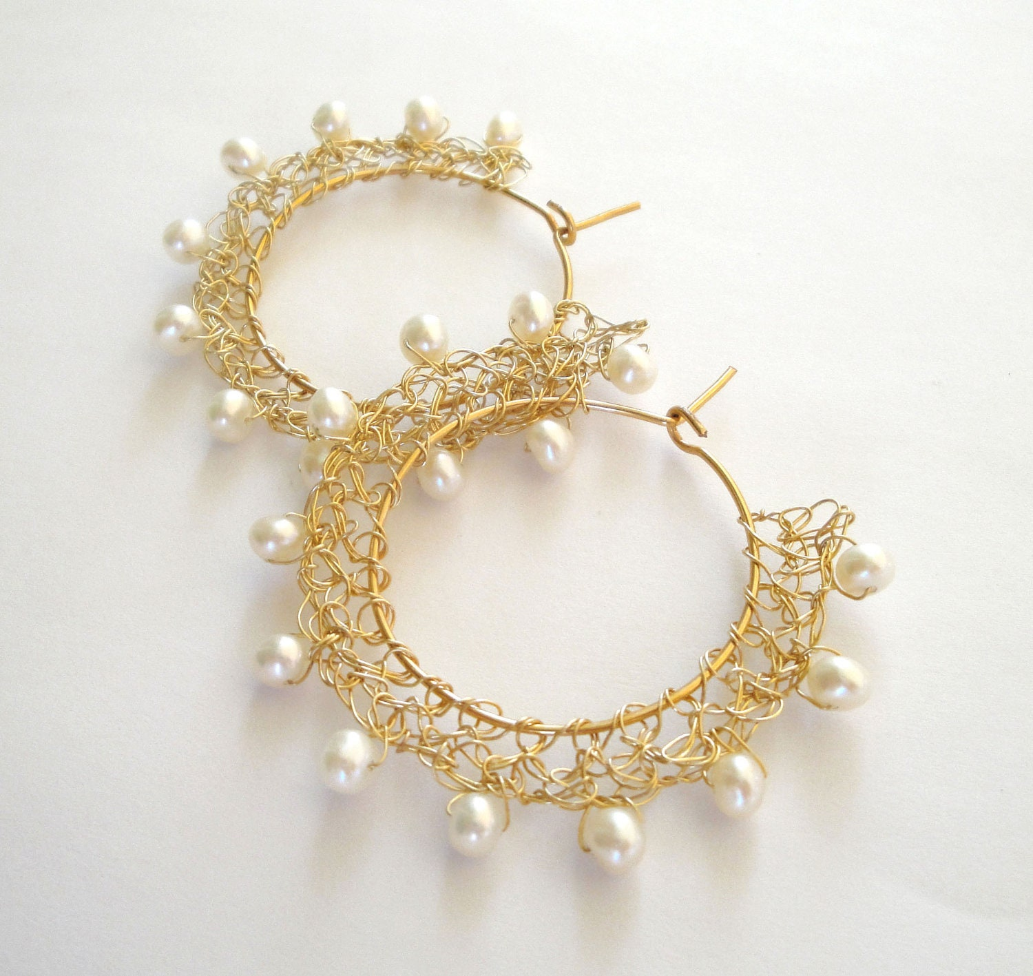 Crochet Earrings : gold wire crochet earrings bridal wedding pearl by katerinaki1977