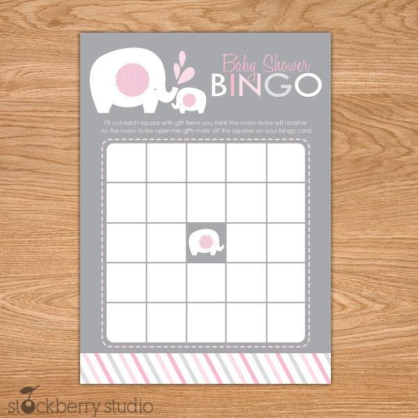elephant baby shower bingo game printable by stockberrystudio