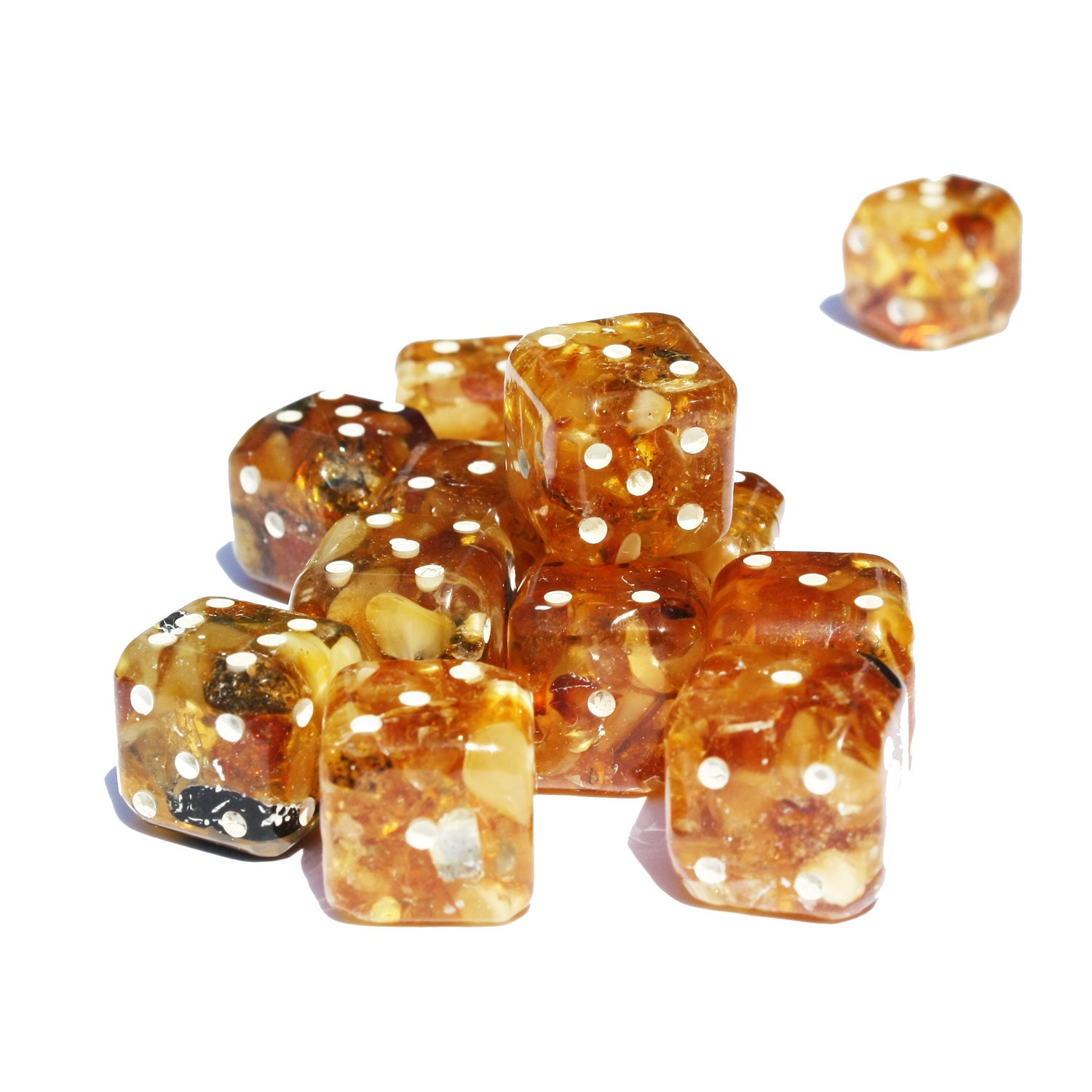 Baltic Amber Dice with rounded corners amber present unique and impressive gift game accessory make a dice set for Dice  Tile Games