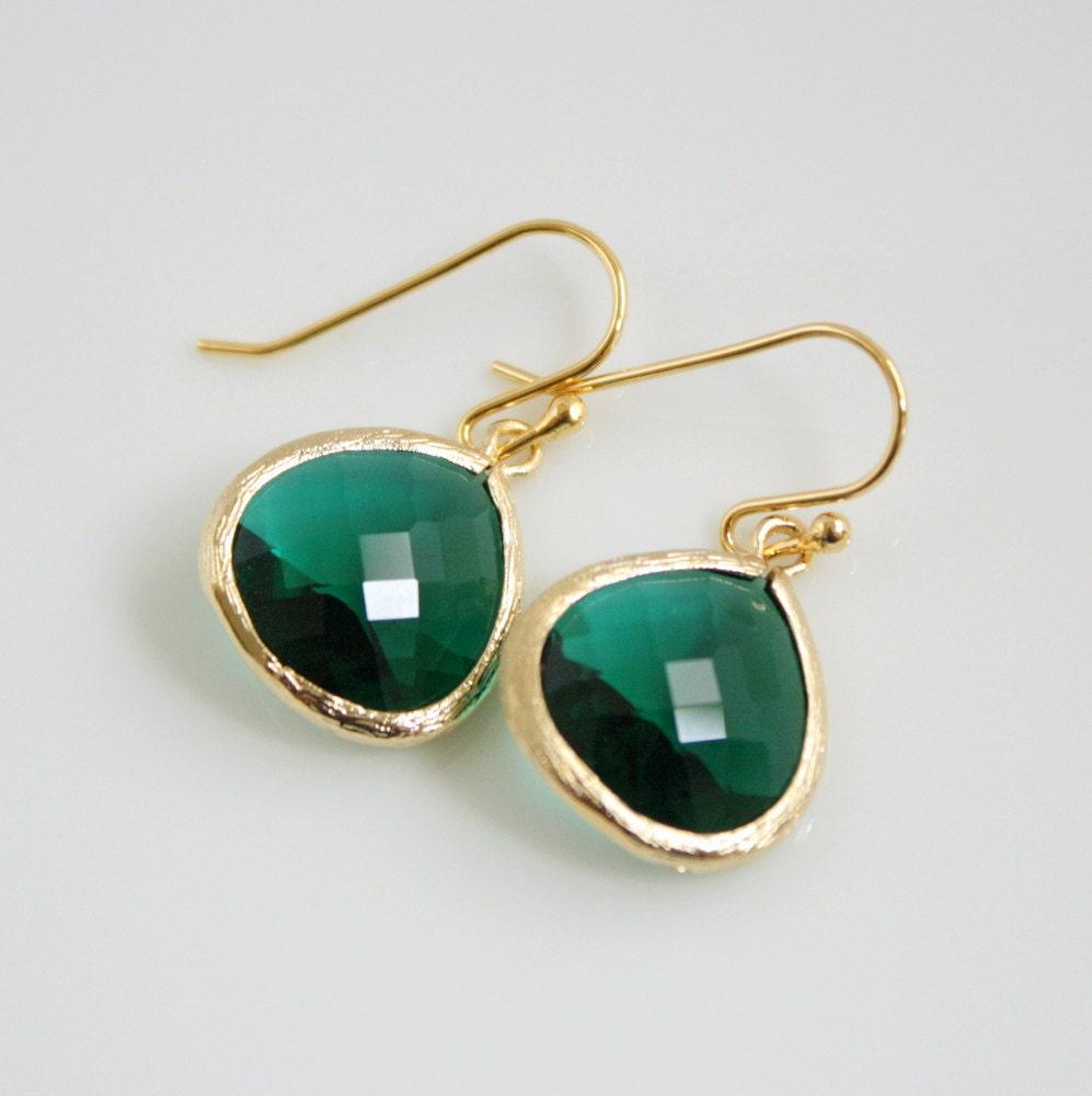 gold emerald green earrings glass emerald jewelry by