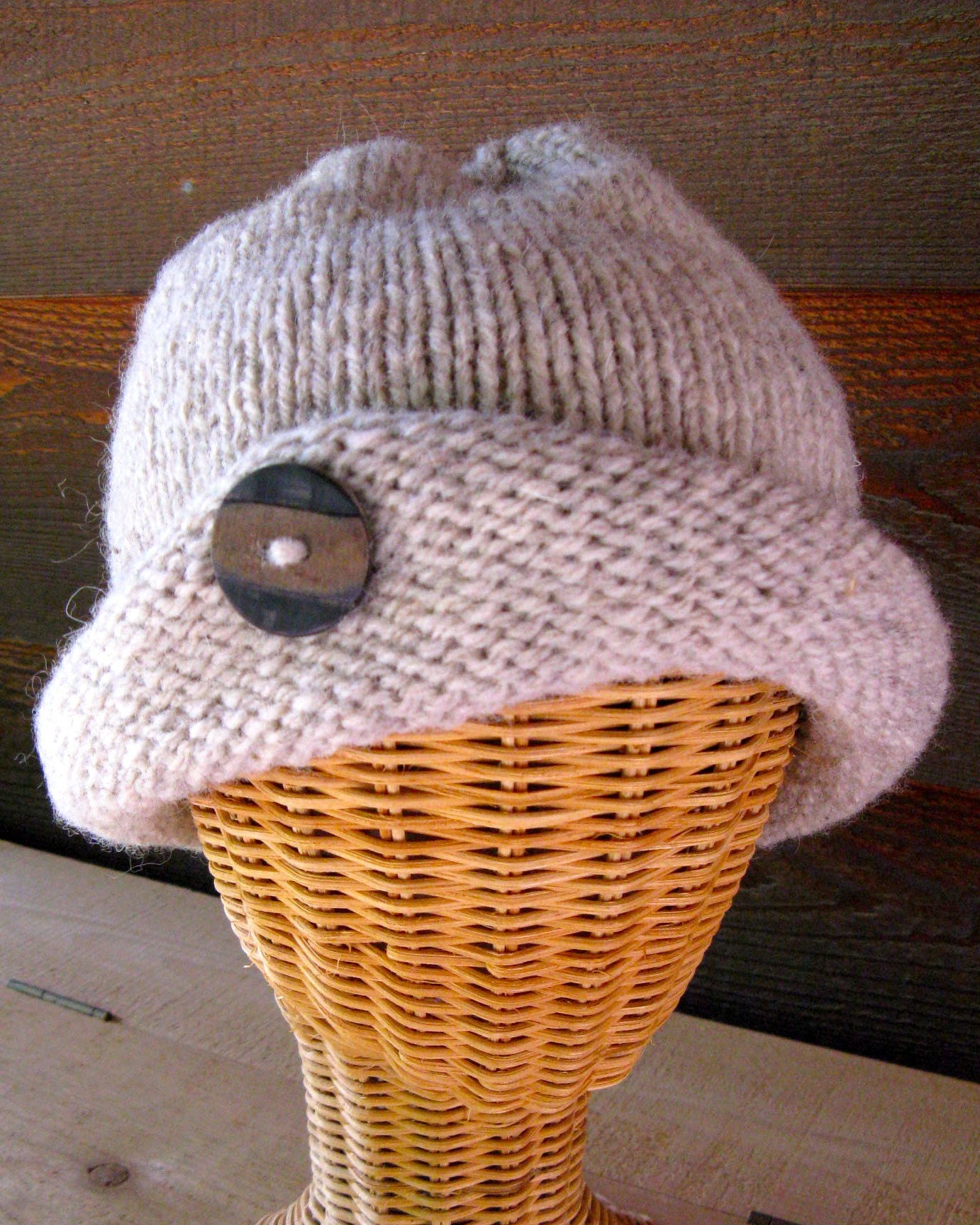 Knitted Wool Rolled Brim Hat by annieswoolens on Etsy