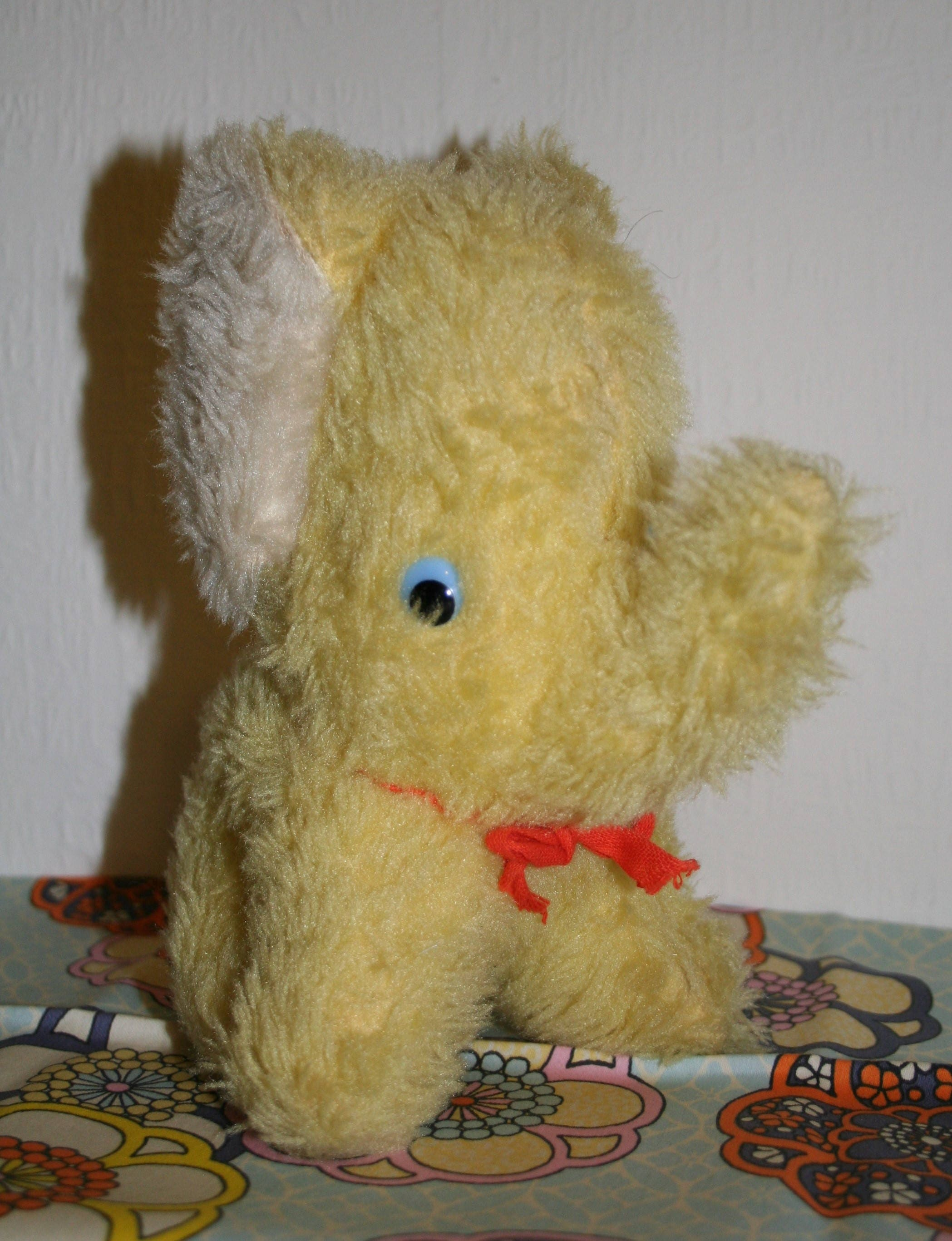 Vintage Yellow Soft Toy Elephant 1960s 1970s Retro MCM Pedigree Made In Ireland Plush Old Rustic Animal Cuddly Plushie
