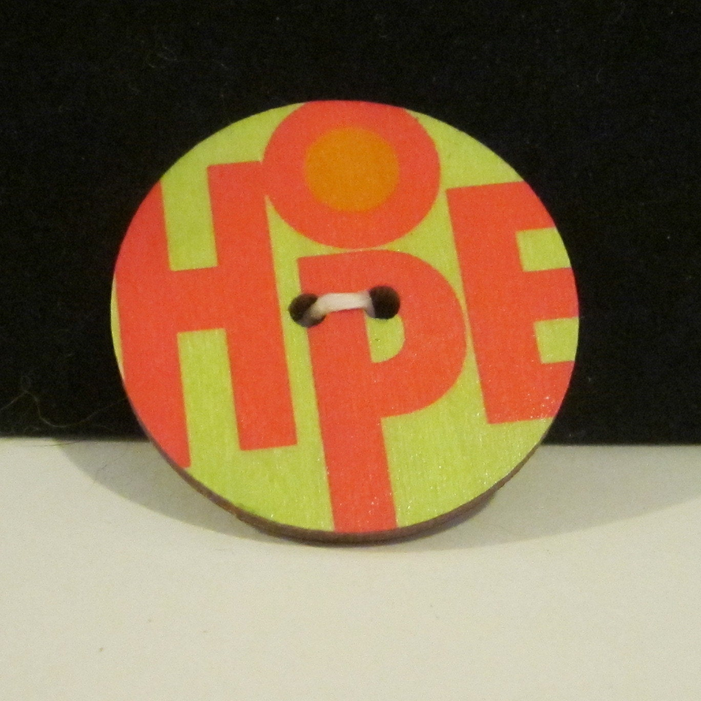 Wood Button Pin/Brooch - Hope - TheBookCellar