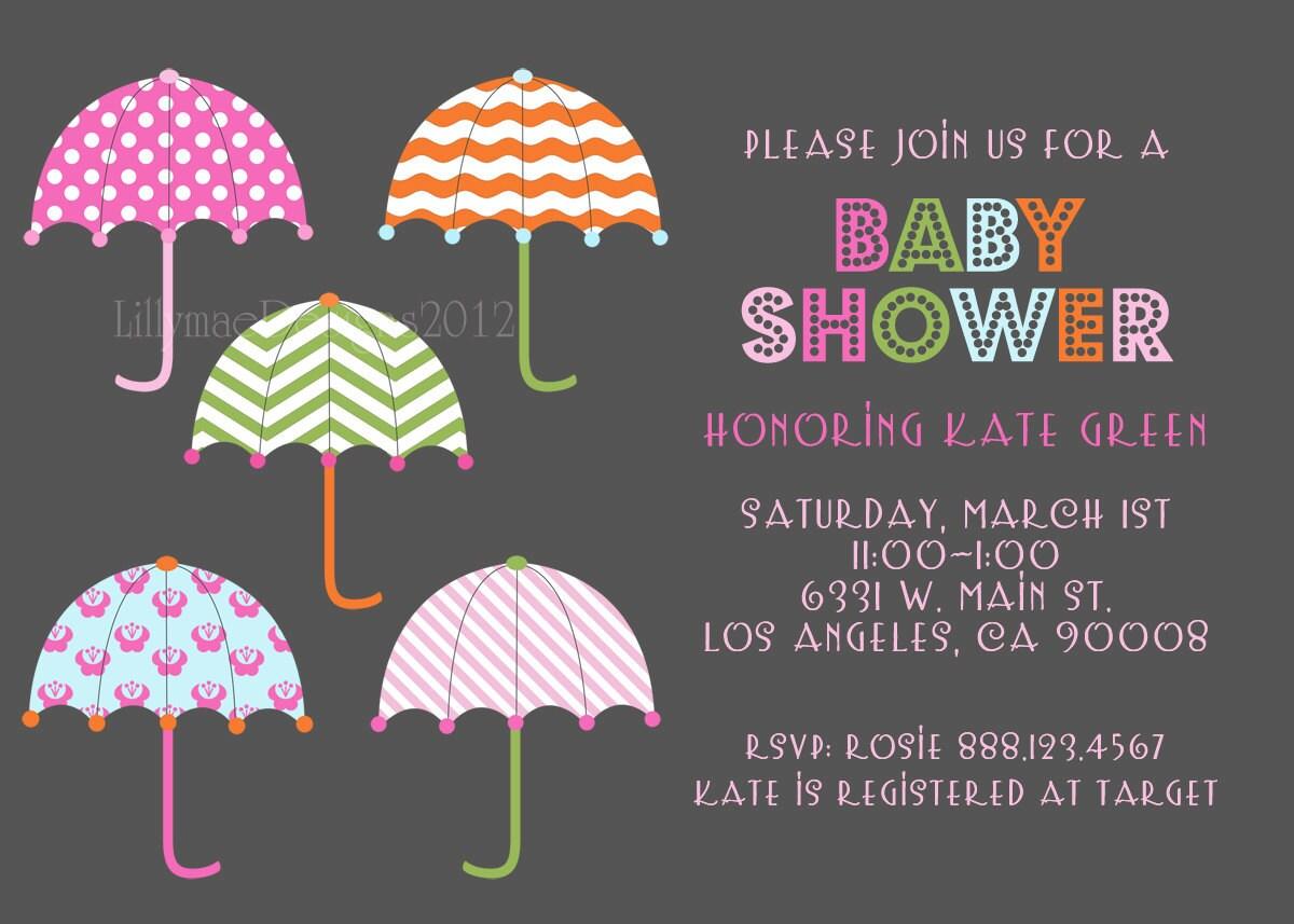 baby shower invitation umbrellas all around by lillymaedesigns