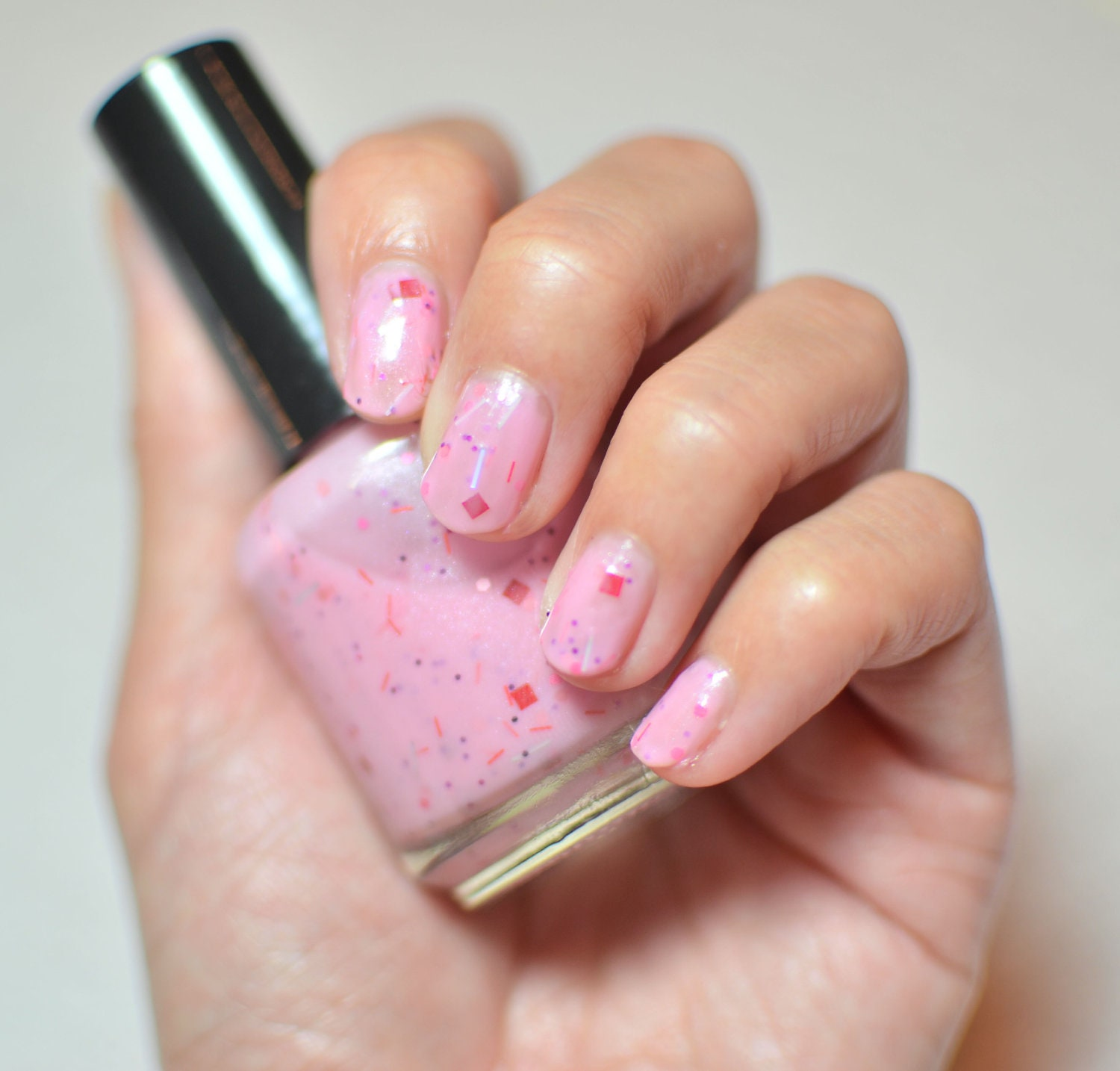 Nail Polish: Fairy Floss - Milky Cotton Candy Pink with Glitters