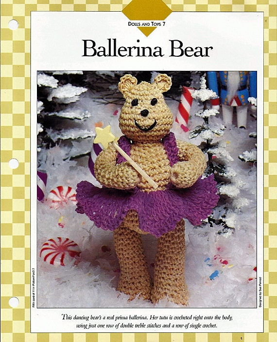 Crochet Ballerina Bear Free Pattern : Ballerina Bear Crochet Toy Pattern 85070-E by ...