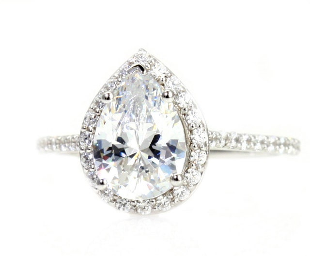 moissanite engagement ring diamond halo custom pear by. Black Bedroom Furniture Sets. Home Design Ideas