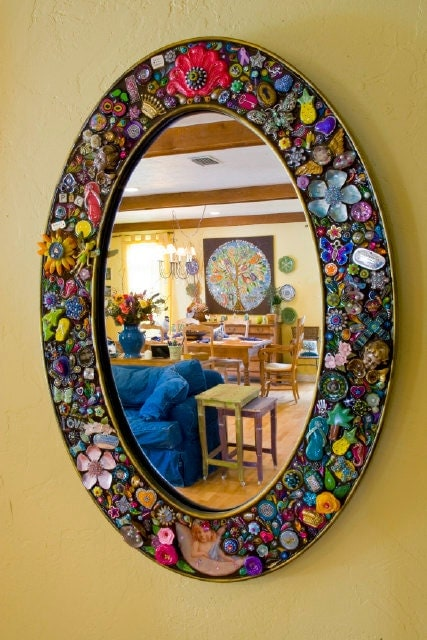 Large oval mirror crafted handcrafted embellished by iluvpic for Embellished mirror frame