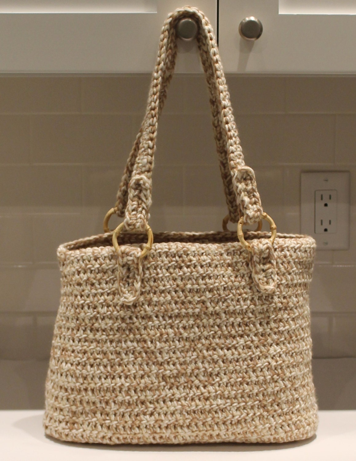 Chunky Crochet Tote Pattern : Crocheted Tote Bag Hand Crochet Purse Chunky by ChainStitchers