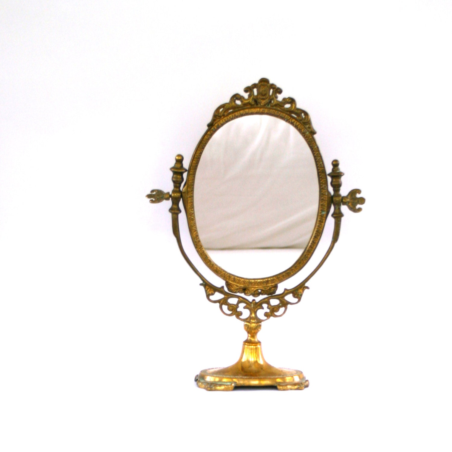 Antique Vanity Mirror With Stand Makeup Ornate By