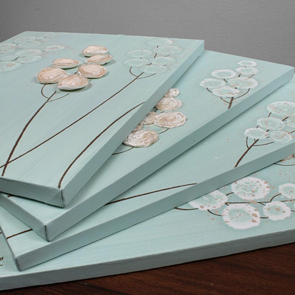Большая картина Цветок - подлинная работа акрил четырех деталей Холст 43X20 - Тан и Голубой цветочные стены искусства