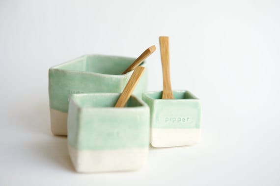 Ceramic Cellars in Mint- Salt, Pepper, and Sugar (made to order) - RossLab