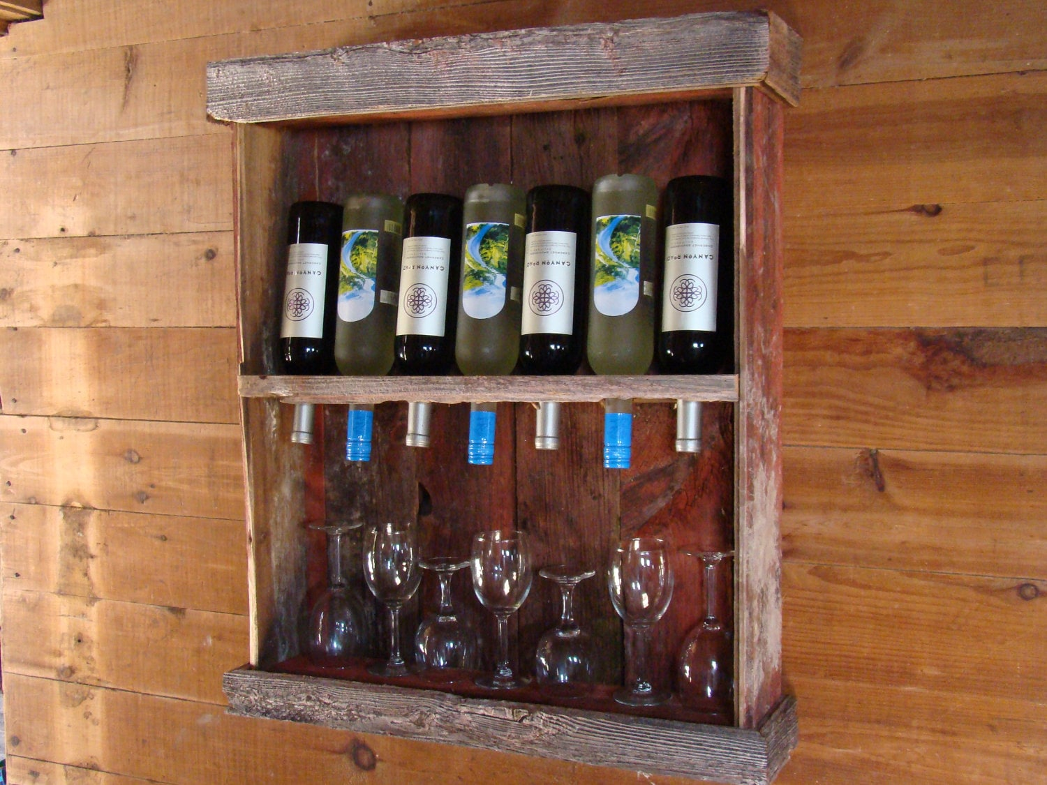 Rustic barn wood wine cabinet