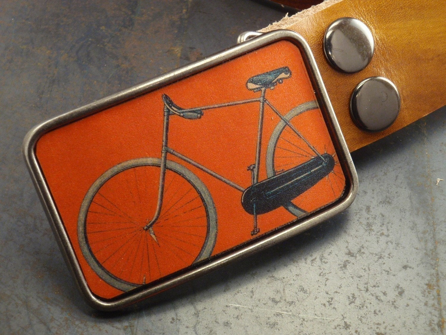 Belt buckle bike, orange retro, Park your car bike leather belt buckle