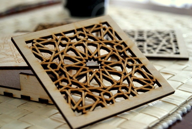 Wood Coasters - Islamic Geometric Pattern - KustomKalligraphy