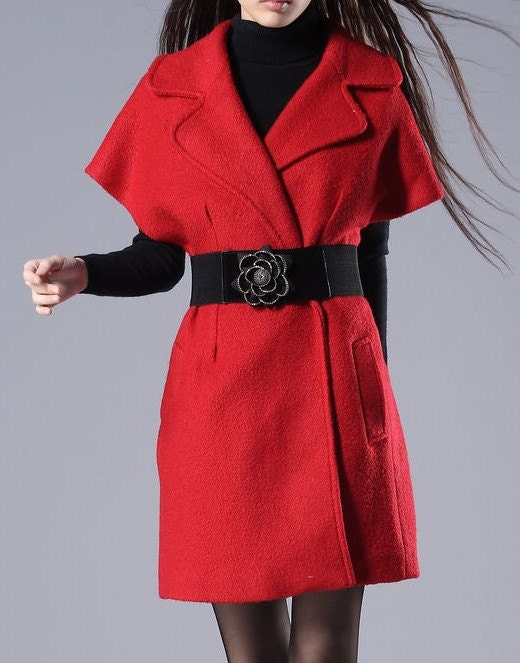 Red / Black wool Jacket Women  dress Autumn Winter Spring---CO020
