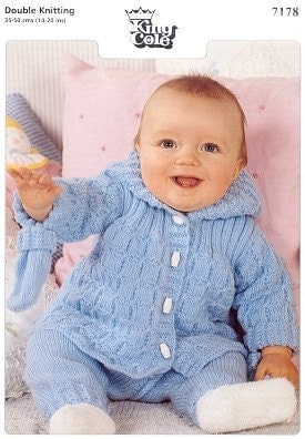 baby knitting pattern for   baby pram set hooded jacket mitts trousers 1420 in double knit