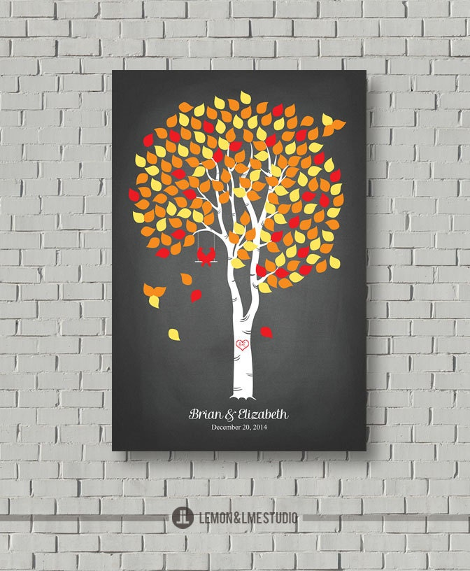 Fall Wedding Guest Book Alternative -  Wedding Tree - Chalkboard Wedding Guest Book