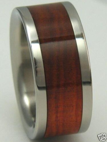 Titanium Wood Ring Custom Red Heart WOOD Band Mens or Ladies Wedding Bands