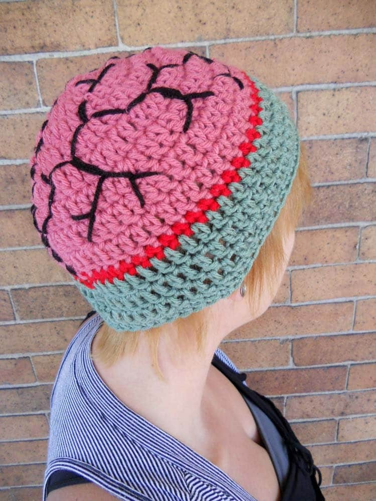 Crochet Zombie Brain Hat - Adult only ready to ship - Halloween ...