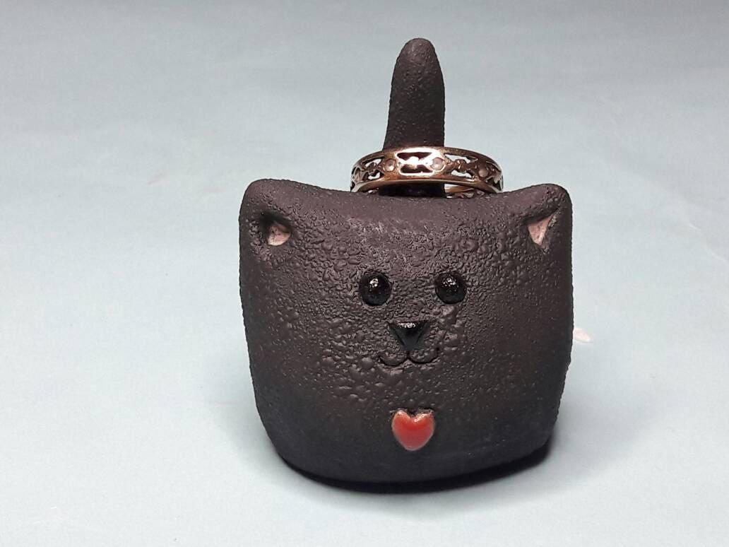 Ring holder black cat ornament cat gift cat lover handmade
