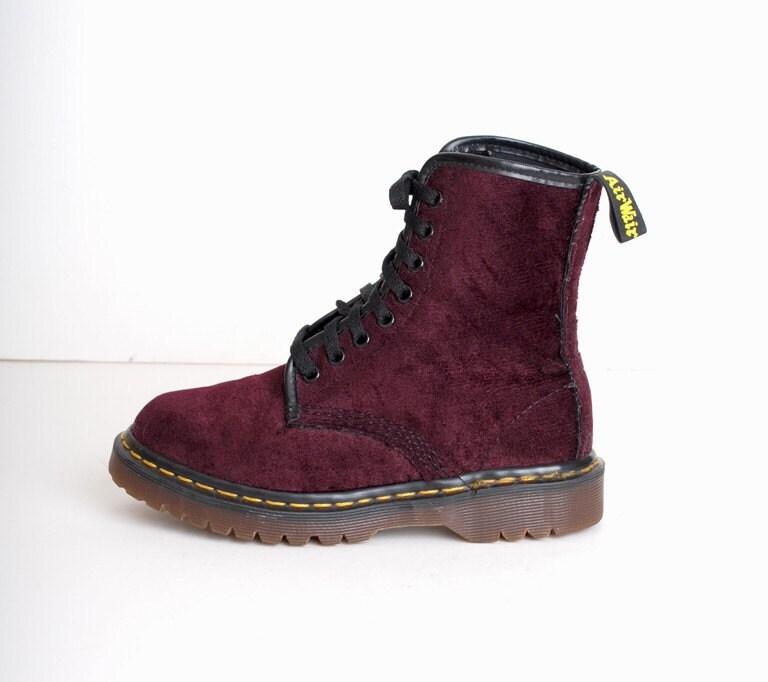 size 5 purple velvet doc martens combat boots by