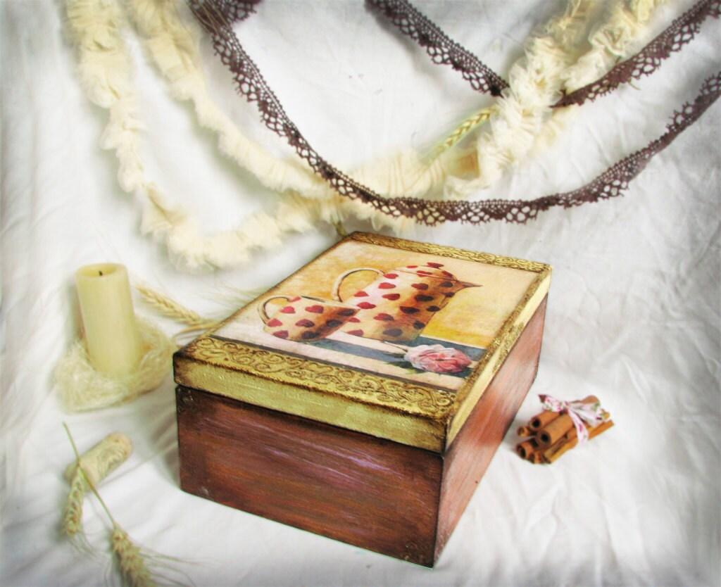 Пакетик чая деревянные коробки и сливки, отправляя во всем мире,