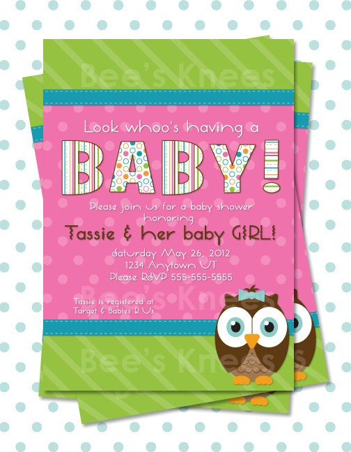 owl baby shower invitation invite printable owl themed for baby girl