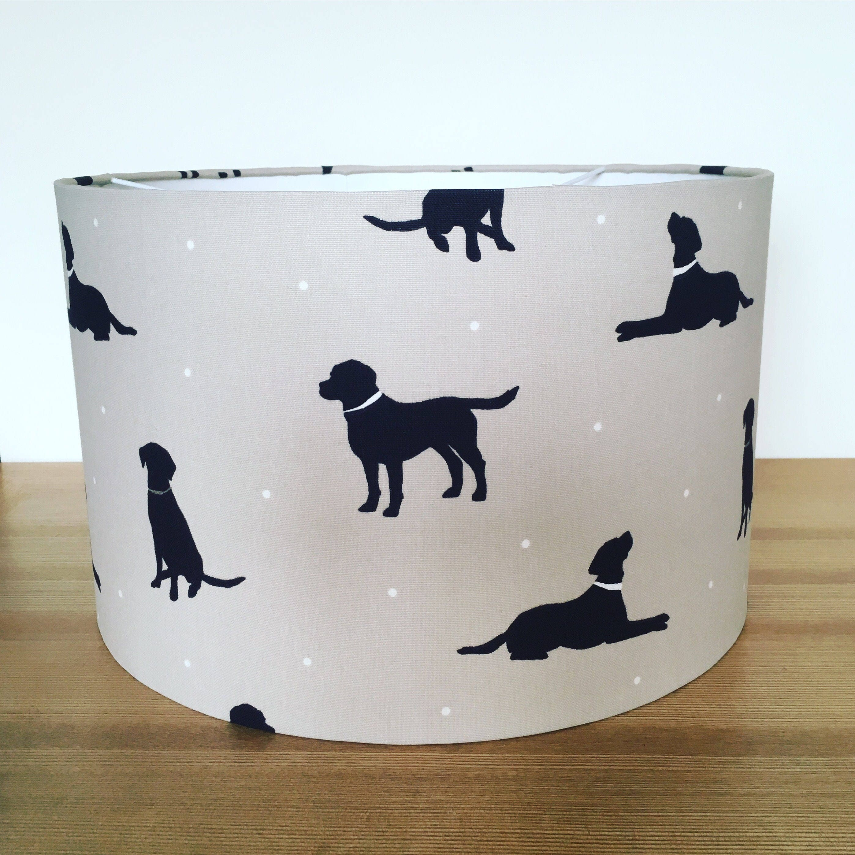 Handmade Fabric Lampshade Black Labradors  dogs