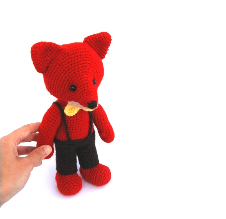 elegant man stuffed fox toy, amigurumi father red animal, woodland crocheted toy for children, cuddly doll, outdoor actvity, fox for kids - crochAndi