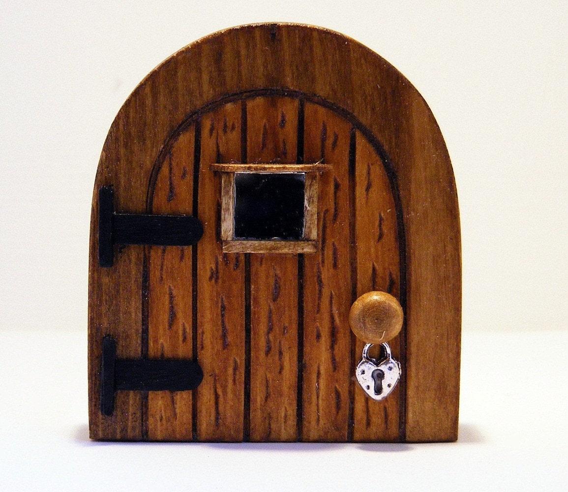 Small wooden fairy door by fairyrade on etsy for Wooden elf door