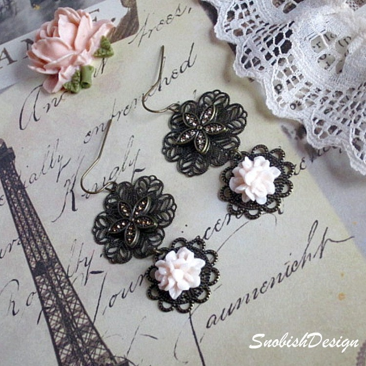 Flower Earrings  Filigree Lace Flowers and Light by SnobishDesign from etsy.com