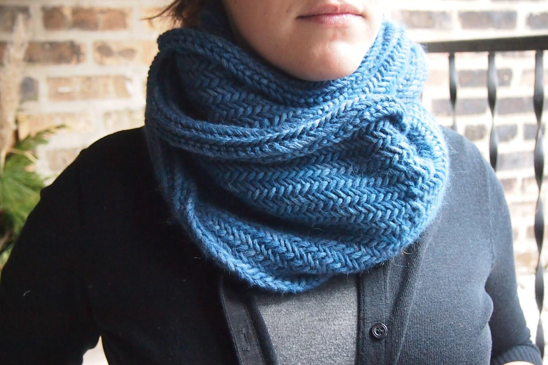 Hand Knit Scarf Herringbone Cowl Blue by greeneyesknits on ...