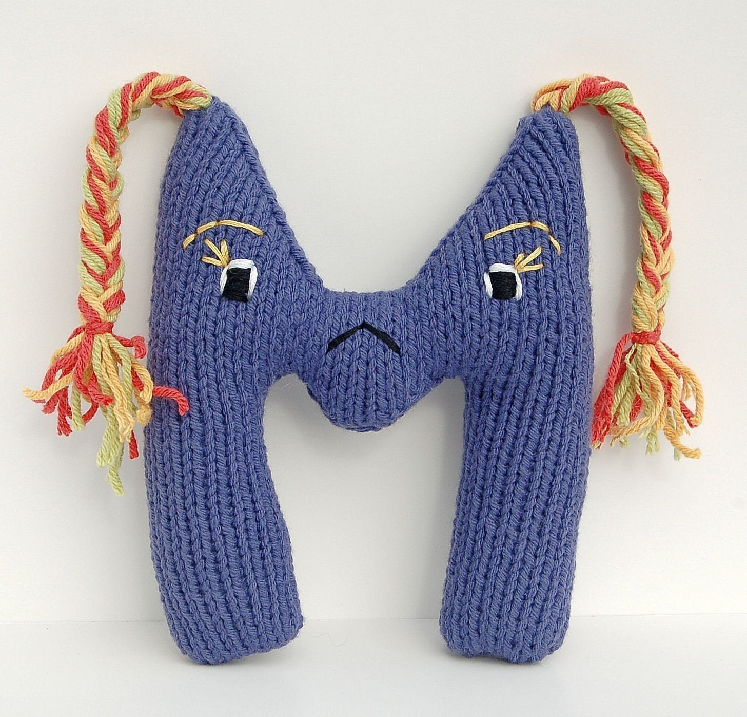 Letter M Alphabet Plush Toy Knitting PATTERN - Monica